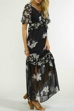 Flying Tomato Black Floral Maxi Dress
