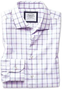 Charles Tyrwhitt Classic Fit Semi-Spread Collar Non-Iron Business Casual Purple Check Cotton Dress Shirt Single Cuff Size 15.5/33