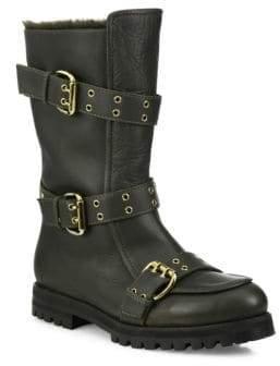 Jimmy Choo Deryn Flat Leather& Shearling Boots