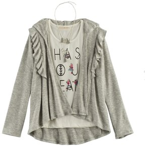 Self Esteem Girls 7-16 Ruffled Cardigan & Foil Graphic Tank Top with Necklace