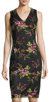 Donna Ricco Floral-Print V-Neck Dress