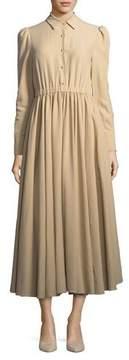 Co Long-Sleeve Button-Front Cotton-Linen Dress