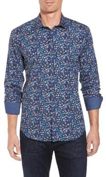 Bugatchi Men's Shaped Fit Camera Print Sport Shirt