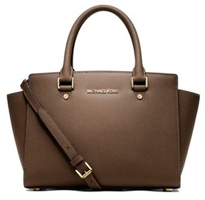 MICHAEL Michael Kors Selma Medium Leather Satchel. - TAN - STYLE