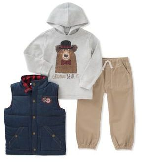 Kids Headquarters Little Boy's Three-Piece Quilted Denim Vest, Graphic Hoodie and Classic Jogger Pants Set
