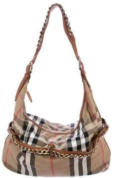 Burberry Leather-Trimmed House Check Hobo
