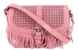 Roberto Cavalli Pink Leather Star Fringe Shoulder Bag