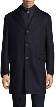 Corneliani Navy Storm System Wool-Blend Topcoat
