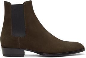 Saint Laurent Khaki Suede Wyatt Chelsea Boots