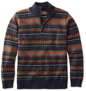 L.L. Bean Double L Cotton Sweater, Quarter-Zip Fair Isle