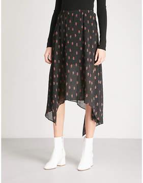 Mo&Co. Floral-print asymmetric crepe skirt