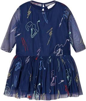 Stella McCartney Navy Luna Embroidered Skates Tulle Dress