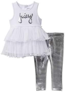 Juicy Couture Mesh Bottom Tunic & Foil Legging Set (Baby Girls)