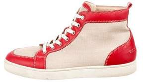 Christian Louboutin Leather-Trimmed Canvas Sneakers