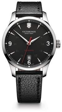 Victorinox Men's Alliance Automatic Round Leather Strap Watch, 40mm
