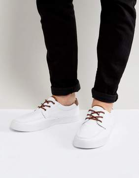 Asos Boat Shoes In White Canvas