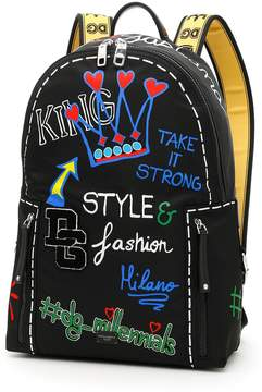 Dolce & Gabbana Nylon Backpack With Print And Logo Patch