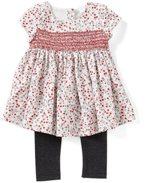 Edgehill Collection Baby Girls 12-24 Months Floral-Print Smocked Top & Leggings Set