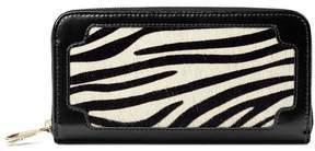 Aspinal of London Marylebone Purse In Zebra Haircalf Black Polish
