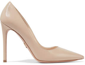 Prada Glossed Textured-leather Pumps - Beige