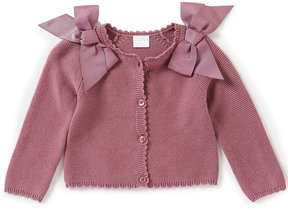 Edgehill Collection Baby Girls Newborn-24 Months Button-Down Bow Cardigan