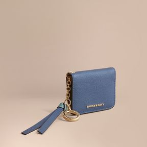 Burberry Leather and Haymarket Check ID Card Case Charm - STEEL BLUE/MULTI - STYLE