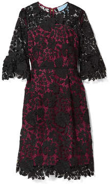 Draper James Rosslyn Lace And Twill Dress - Magenta
