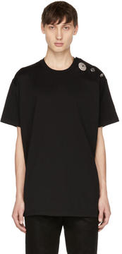 Givenchy Black Crystal Buttons T-Shirt