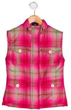 Oscar de la Renta Girls' Wool Plaid Vest