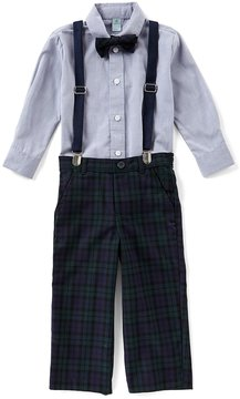 Class Club Little Boys 2T-7 Button-Down Shirt, Plaid Pants, & Suspenders 3-Piece Set