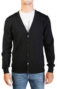 Christian Dior Men's Virgin Wool Buttoned Cardigan Sweater Black.
