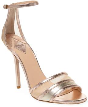 Aperlaï Women's Leather & Mesh Ankle-Wrap Sandal
