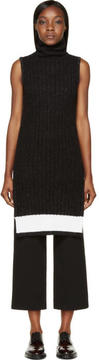 Calvin Klein Collection Black and White Ribbed Knit Arto Turtleneck