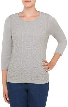 Allison Daley Petites 3/4 Sleeve Cable Front Pullover