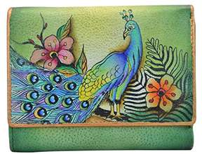 Anuschka Hand Painted Rfid Blocking Small Flap French Wallet |Passionate Peacocks