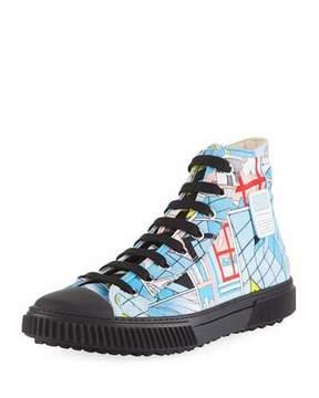 Prada Men's Comic-Print Canvas High-Top Sneakers