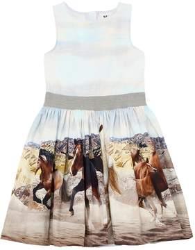 Molo Horses Printed Cotton Poplin Dress