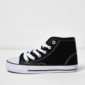 River Island Boys black hi top lace-up plimsolls