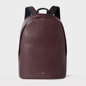 Paul Smith Men's Burgundy Leather 'City Webbing' Backpack