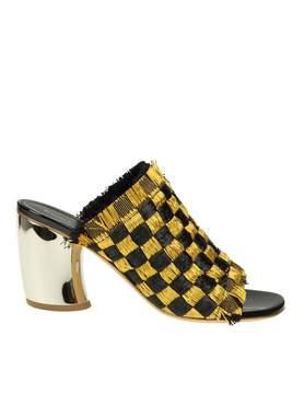 Proenza Schouler Sandal In Gold And Black Rafia