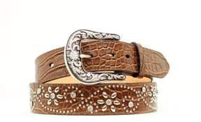 Ariat Western Belt Womens Croc Flower Studs Crystals M Brown A1510602
