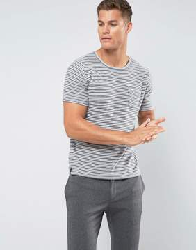 MANGO Man Striped T-Shirt In Gray And White