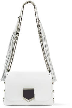 Jimmy Choo - Lockett Petite Tasseled Leather Shoulder Bag - White