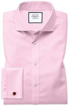 Charles Tyrwhitt Extra Slim Fit Spread Collar Non-Iron Twill Pink Cotton Dress Shirt Single Cuff Size 14.5/32