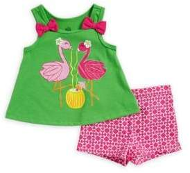 Kids Headquarters Baby Girl's Two-Piece Flamingo Top and Shorts Set