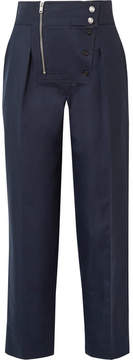 Calvin Klein Cotton And Silk-blend Tapered Pants - Navy