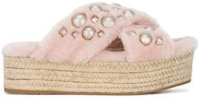 Miu Miu Pink Shearling Pearl flatform Sandals