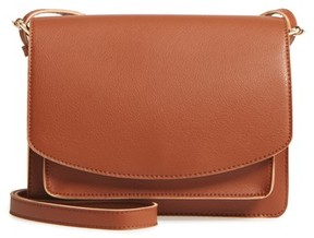 Sole Society 'Michelle' Faux Leather Crossbody Bag - Brown