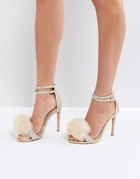 Carvela Glenn Gold Faux Fur Pom Heeled Sandals