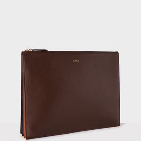 Paul Smith Men's Chocolate Brown 'Concertina' Document Leather Pouch